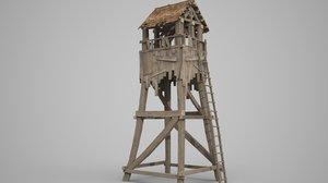 3D model wooden watchtower