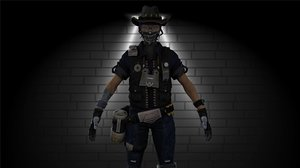 3D girl army model
