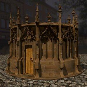 3D gothic fountain model