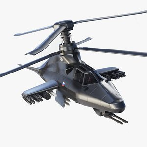 3D ka-58 black ghost attack helicopter