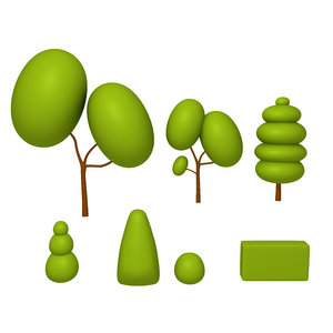 trees cartoon set 01 3D