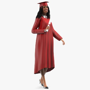 light skin graduation gown 3D model