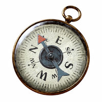 Vintage Brass Compass 3. v.2  3D model with PBR textures.