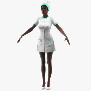 3D dark skinned black nurse model