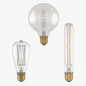 vintage edison light bulbs 3D model