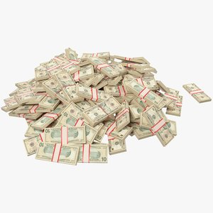 pile dollars bills banknotes 3D model