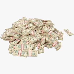 pile dollars bills banknotes 3D model