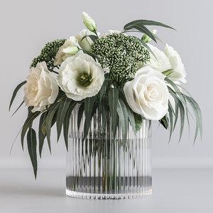bouquet white flowers 3D model