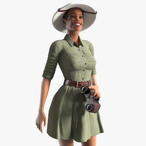 3D model light skin black woman