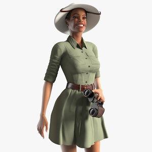 3D model light skin black woman