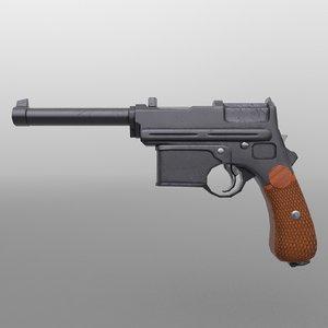 3D model pistol world war