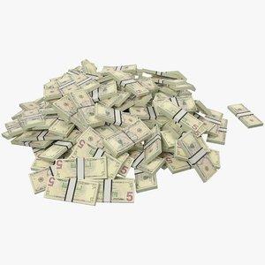 pile dollars bills model