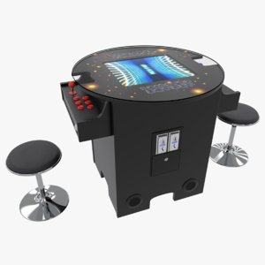 cocktail arcade games cabinet 3D