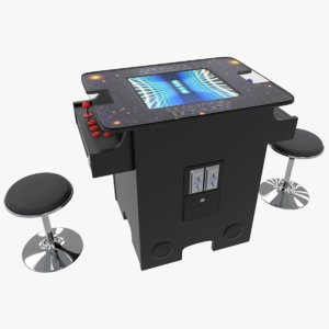 cocktail arcade games cabinet 3D model