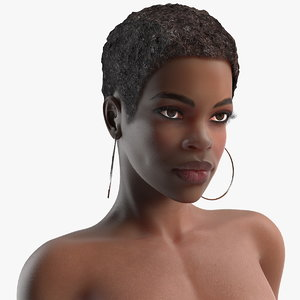 afro american woman nude 3D model