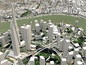 3D cityscape shanghai china s