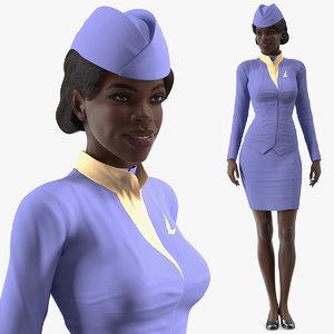 dark skinned black stewardess 3D model