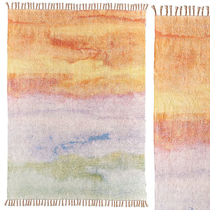 3D watercolor sunset chenille rug