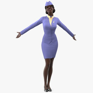 3D dark skinned black stewardess model