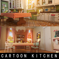Cartoon Kitchen Dining Room