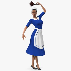 3D light skin black maid model