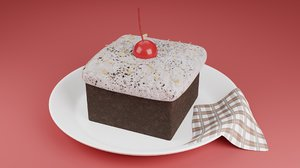 cream chocolate plate 3D model