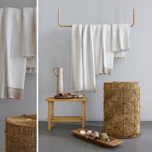 decorative set basket towel 3D model