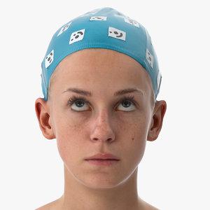 3D rhea human head eyes model