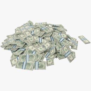 3D pile dollars bills model