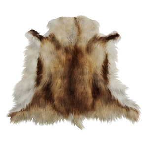 wool furry reindeer skin 3D model