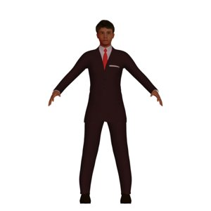 3D low-poly hispanic male red model
