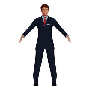 3D redheaded man navy suit