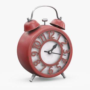 3D red alarm clock model