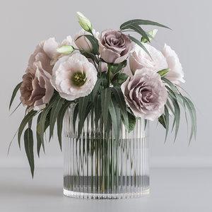 3D pink flower bouquet