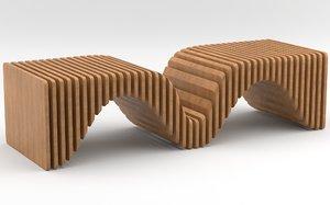 parametric wooden bench 3D