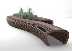 parametric wooden bench model