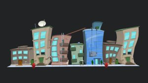 cartoon city buildings 3D