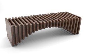 3D parametric wooden bench