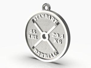 3D barbell standart pendant model