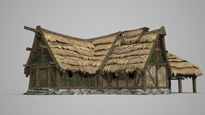 thatched wooden houses model