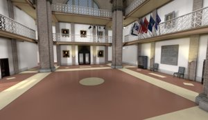 3D model ballroom foyer lobby