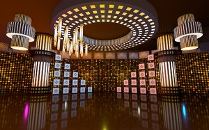 golden virtual set 3D model