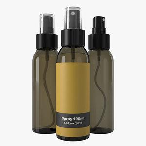 3D bottle 100ml spray model