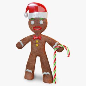 blender gingerbread man rigged 3D model