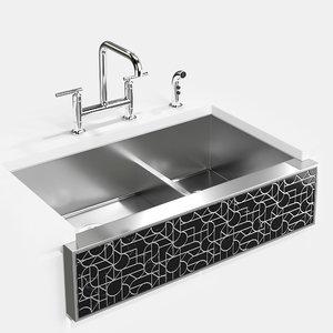 3D kohler kitchen sink tailor model