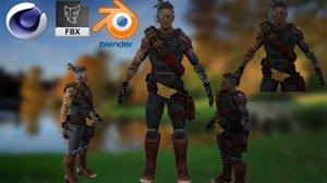 viking character sword 3D model
