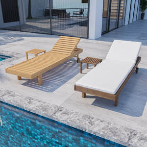 3D model wood sunbed