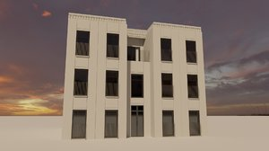 3D model neoclassic building facade