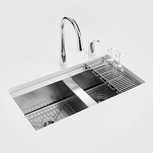 3D model 8 degree kitchen sink