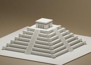 3D cartoon mayan pyramid
